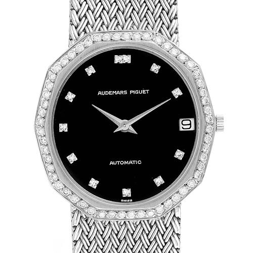 Photo of Audemars Piguet White Gold Black Dial Diamond Vintage Mens Watch