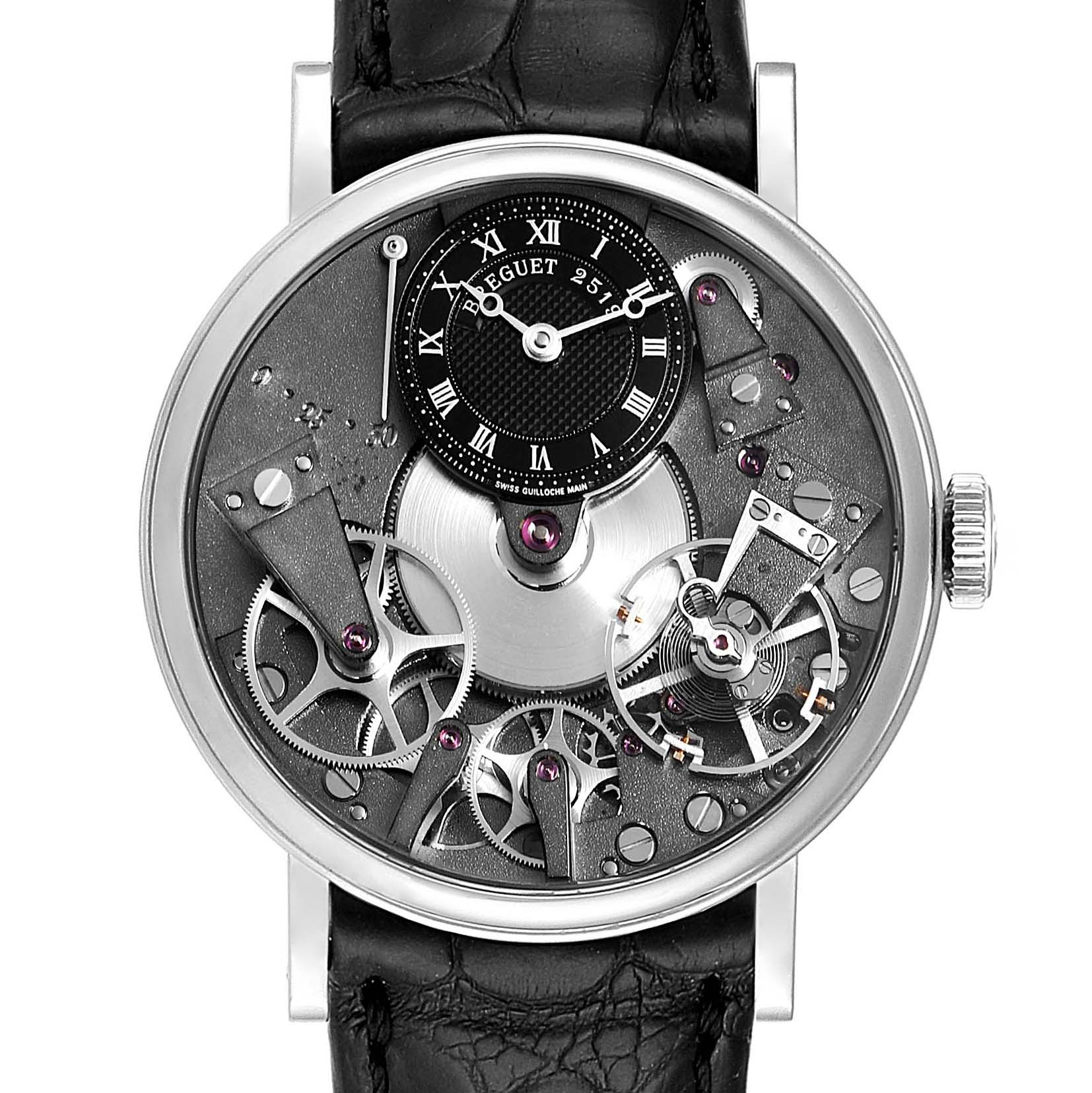 Breguet Tradition Skeleton Dial White Gold Manual Wind Mens Watch 7027BB