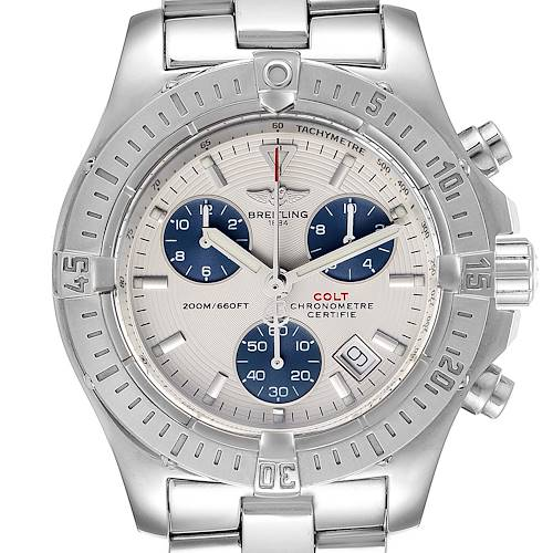 Photo of Breitling Colt Chronograph Blue Subdials Steel Mens Watch A73380 Box Papers