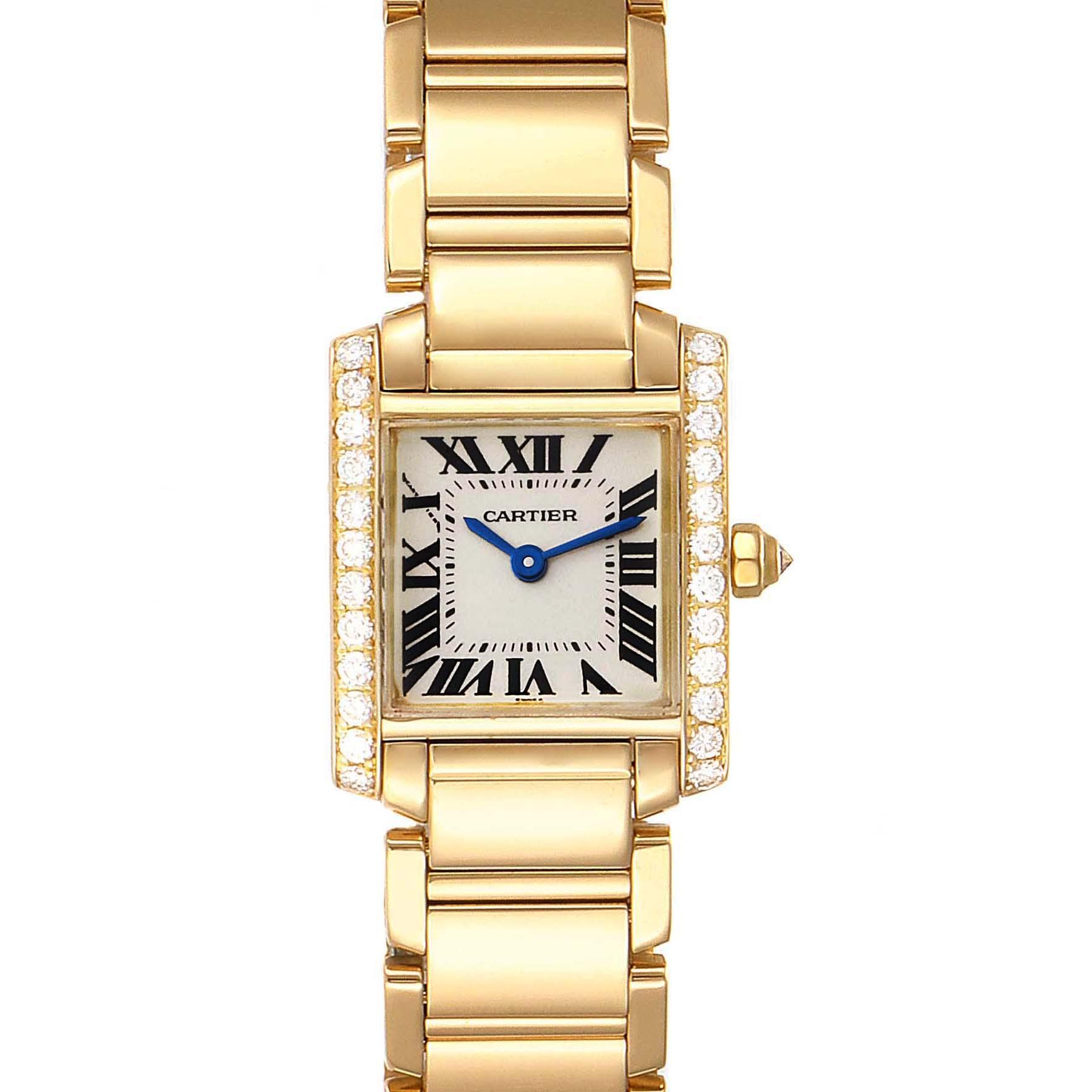 Cartier Tank Francaise 18K Yellow Gold Diamond Ladies Watch WE1001R8