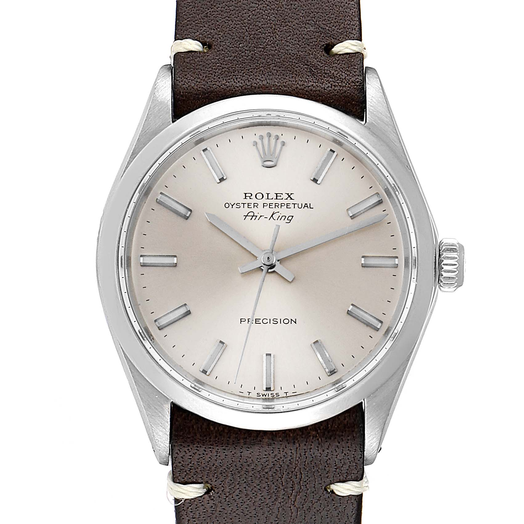 Rolex Air King Silver Dial Brown Strap Vintage Steel Mens Watch 5500