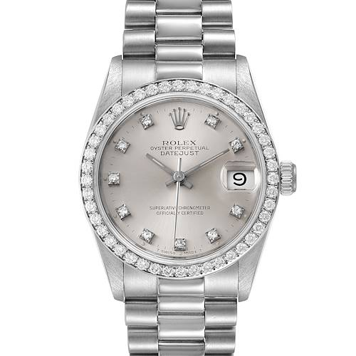 Photo of Rolex President Datejust Midsize Platinum Diamond Ladies Watch 68286