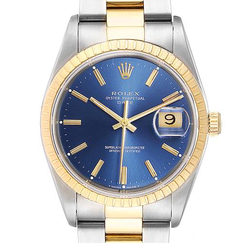 Photo of Rolex Steel Yellow Gold Blue Dial Oyster Bracelet Mens Watch 15223