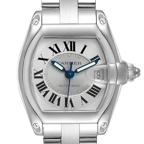 Photo of Cartier Roadster Silver Roman Dial Steel Mens Watch W62000V3