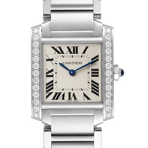 Photo of Cartier Tank Francaise Midsize Diamond Steel Ladies Watch W4TA0009 Box Card