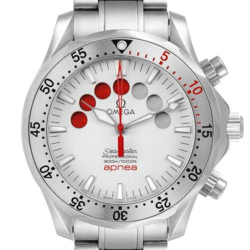 Photo of Omega Seamaster Apnea Jacques Mayol Silver Dial Mens Watch 2595.30.00 Card