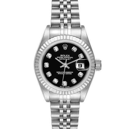 Photo of Rolex Datejust Steel White Gold Black Diamond Dial Ladies Watch 79174