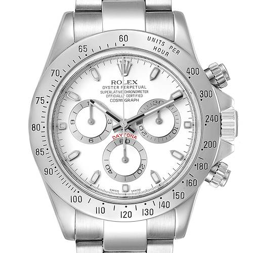 Photo of Rolex Daytona White Dial Chronograph Steel Mens Watch 116520 Box Card