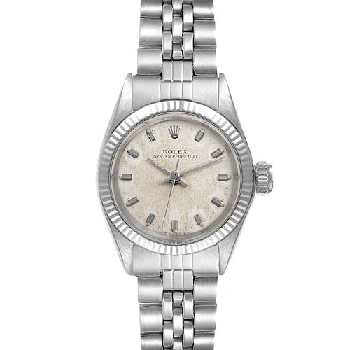 Photo of Rolex Oyster Perpetual Non Date Steel White Gold Ladies Vintage Watch 6619