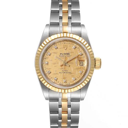 Photo of Tudor Princess Date Steel Yellow Gold Champagne Diamond Dial Watch 92413