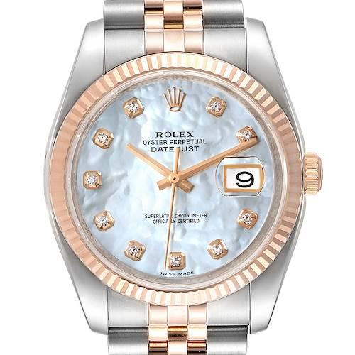 Photo of Rolex Datejust 36 Steel EveRose Gold MOP Diamond Unisex Watch 116231