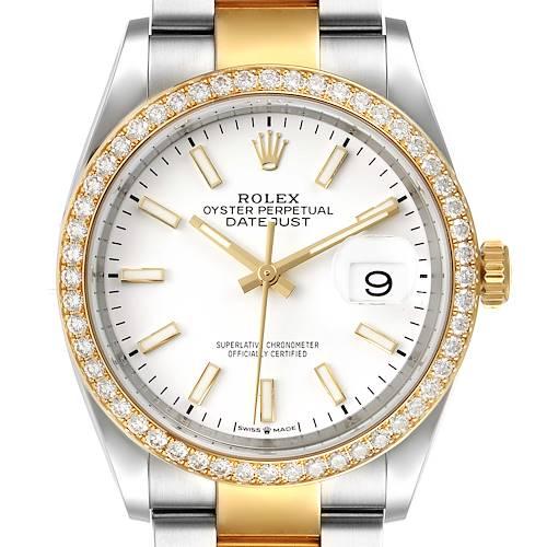 Photo of Rolex Datejust 36 Steel Yellow Gold White Dial Diamond Watch 126283 Unworn