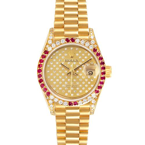 Photo of Rolex President 26 Yellow Gold Pave Diamond Ruby Ladies Watch 69038
