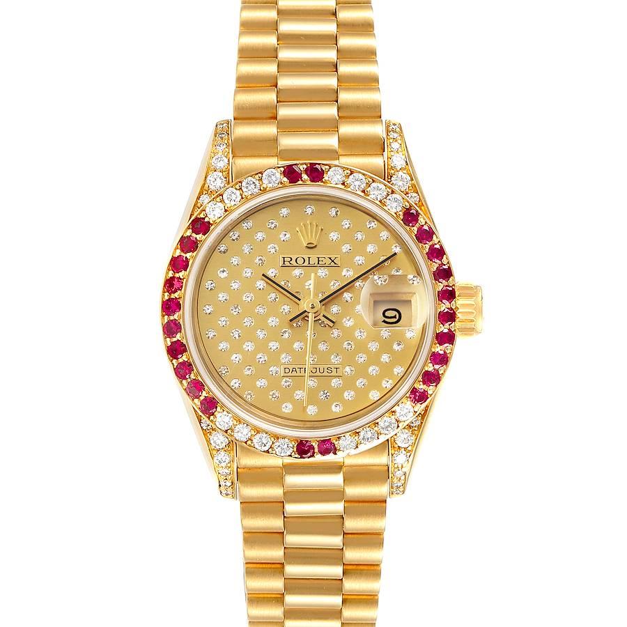 Rolex President 26 Yellow Gold Pave Diamond Ruby Ladies Watch 69038 SwissWatchExpo