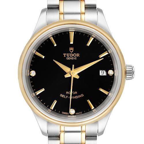 Photo of Tudor Style Date Steel Yellow Gold Diamond Ladies Watch M12303 Box Card