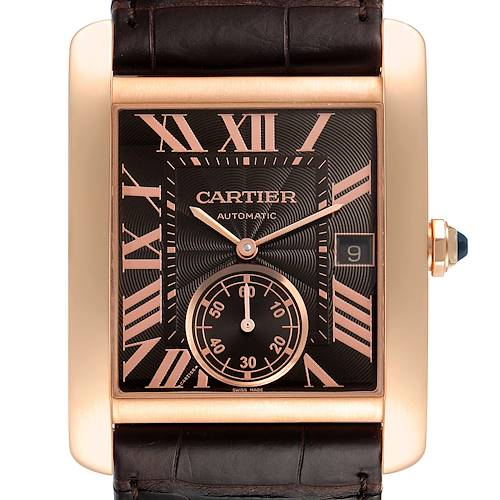 Photo of Cartier Tank MC Rose Gold Brown Dial Brown Strap Mens Watch W5330002