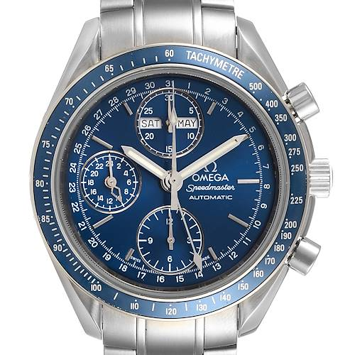 Photo of Omega Speedmaster Day Date Blue Dial Chronograph Watch 3222.80.00 Card