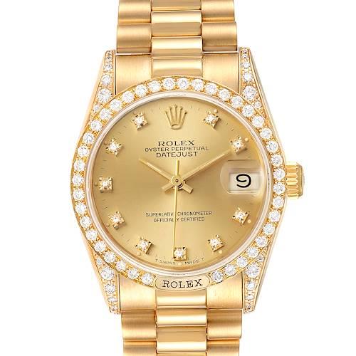 Photo of Rolex President Midsize Yellow Gold Diamond Ladies Watch 69158 Box Papers