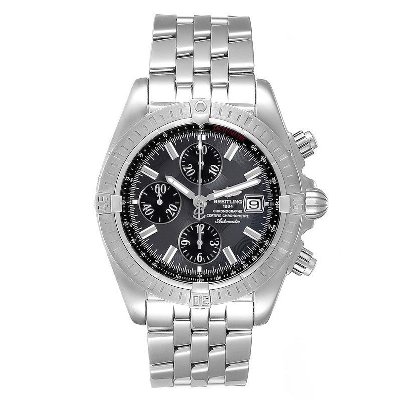 Breitling Chronomat Evolution Grey Dial Steel Mens Watch A13356 SwissWatchExpo