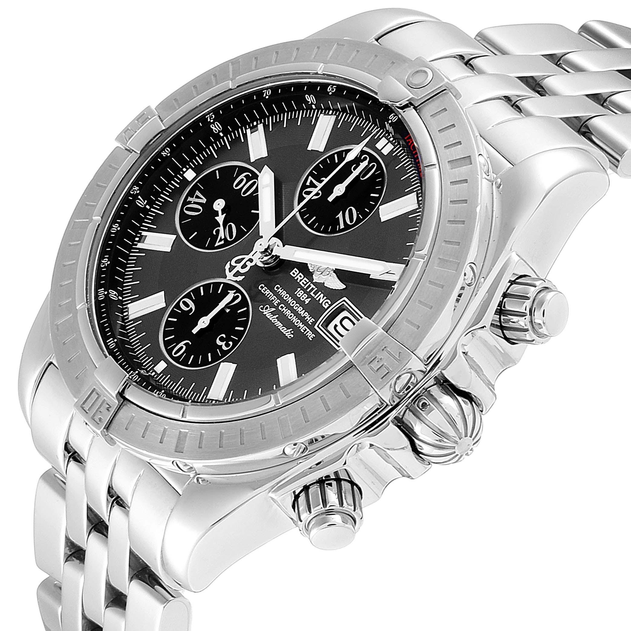 Breitling Chronomat Evolution Grey Dial Steel Mens Watch A13356 SwissWatchExpo