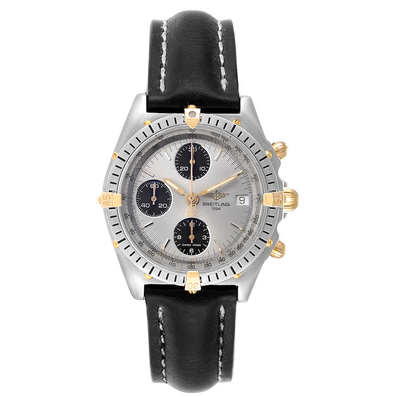 Breitling Chronomat Silver Dial Steel Yellow Gold Mens Watch B13050 SwissWatchExpo