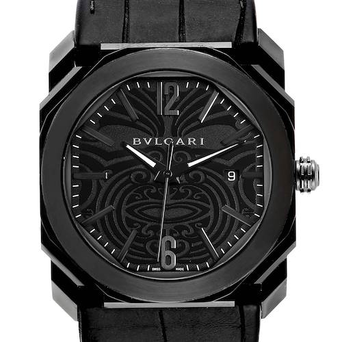 Bvlgari Octo Solotempo 41mm Black Maori Tattoo Mens Watch BGO41S