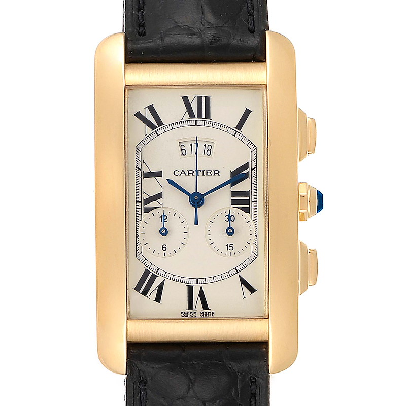 Cartier Tank Americaine Yellow Gold Chronograph Mens Watch 2568 SwissWatchExpo