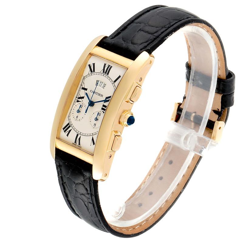 Cartier Tank Americaine Yellow Gold Chronograph Mens Watch 2568 SwissWatchExpo