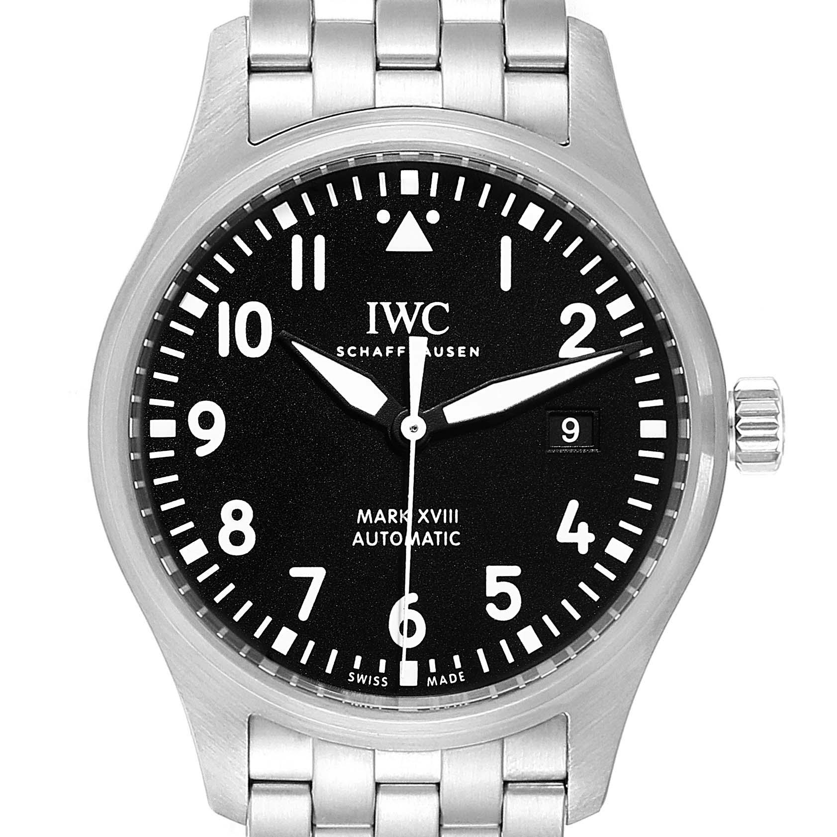 IWC Pilot Mark XVIII Black Dial Steel Mens Watch IW327011 Card SwissWatchExpo