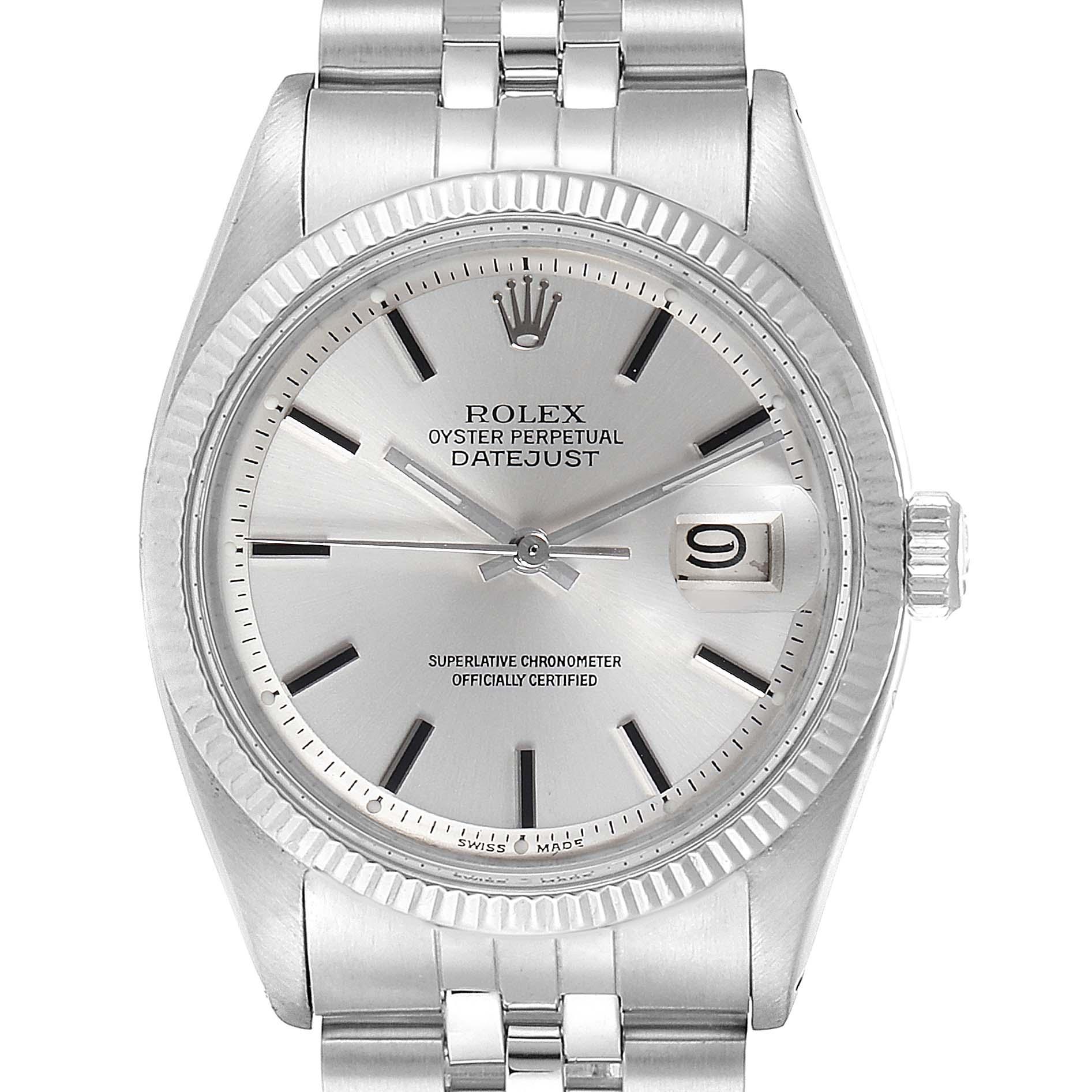 Rolex Datejust Steel White Gold Fluted Bezel Vintage Steel Watch 1601