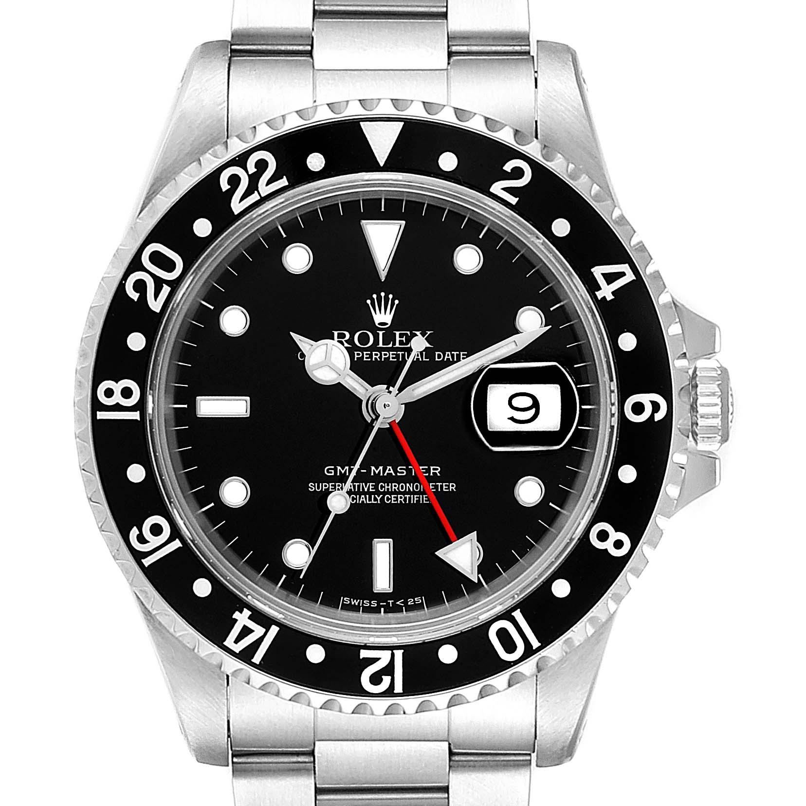 Rolex GMT Master Black Bezel Automatic Steel Mens Watch 16700