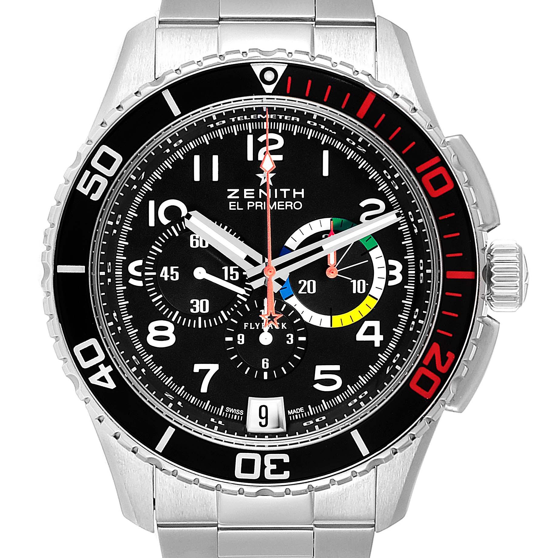 Zenith El Primero Stratos Flyback Steel Mens Watch 03.2061.405 SwissWatchExpo