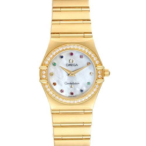 Photo of Omega Constellation Iris Yellow Gold Multi Stone Watch 1177.79.00 Box Card