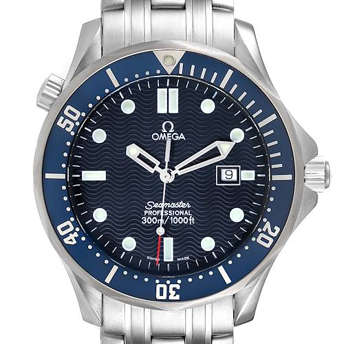 Photo of Omega Seamaster 41 James Bond Blue Dial Steel Watch 2541.80.00 Box Card