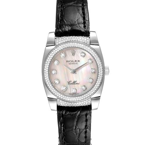 Photo of Rolex Cellini Cestello White Gold MOP Diamond Ladies Watch 6311 Box Card