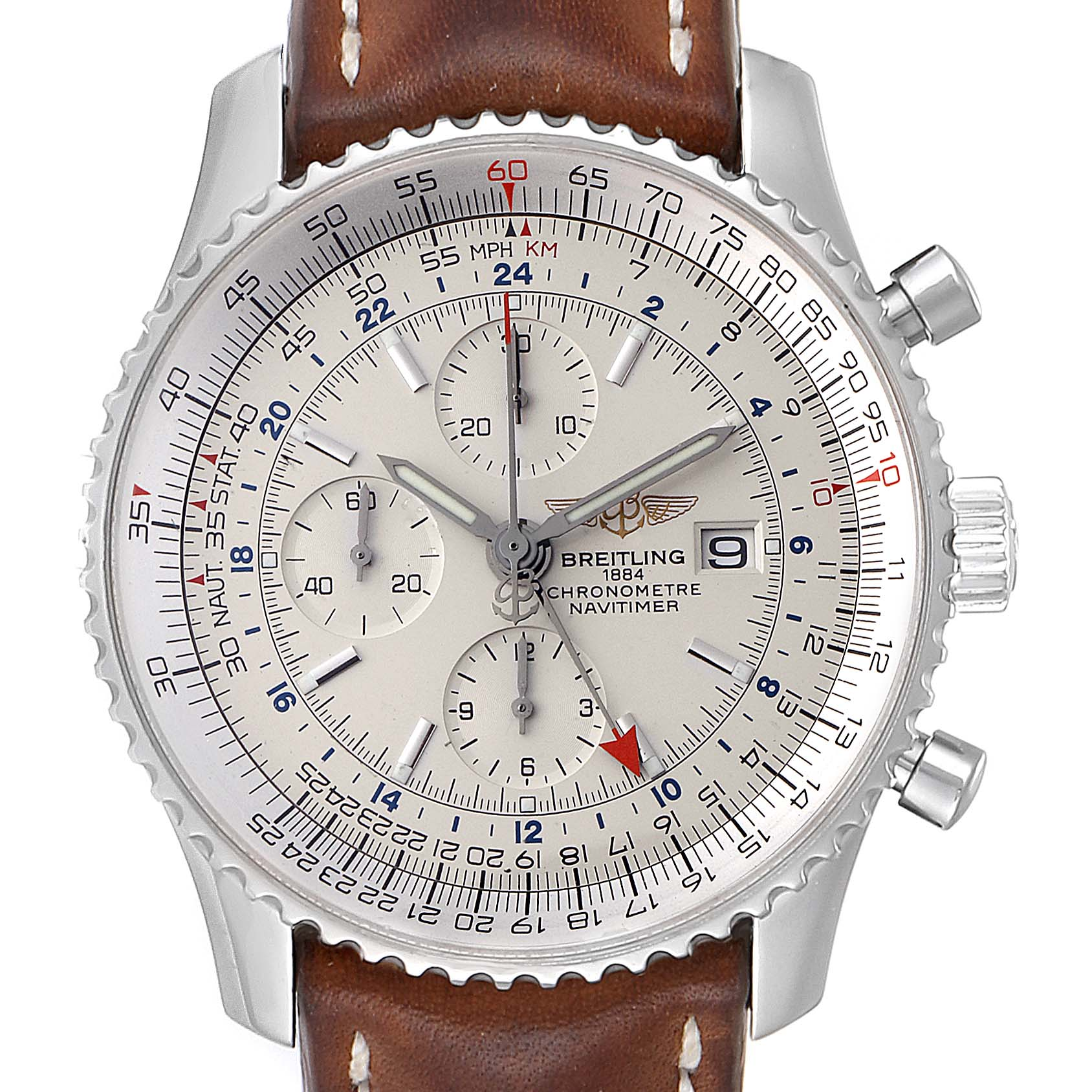 Breitling Navitimer World GMT White Dial Steel Mens Watch A24322