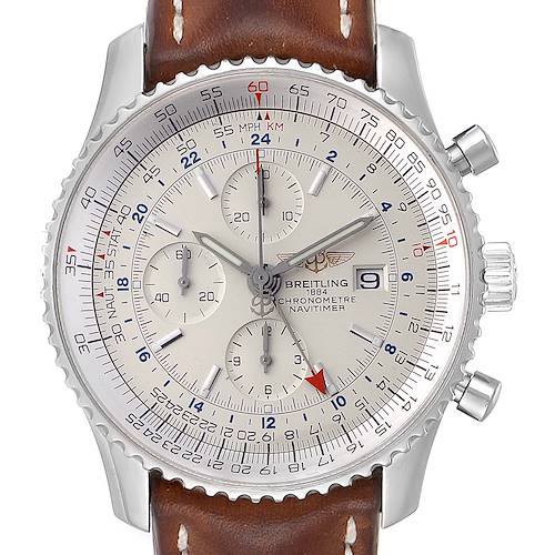 Photo of Breitling Navitimer World GMT White Dial Steel Mens Watch A24322