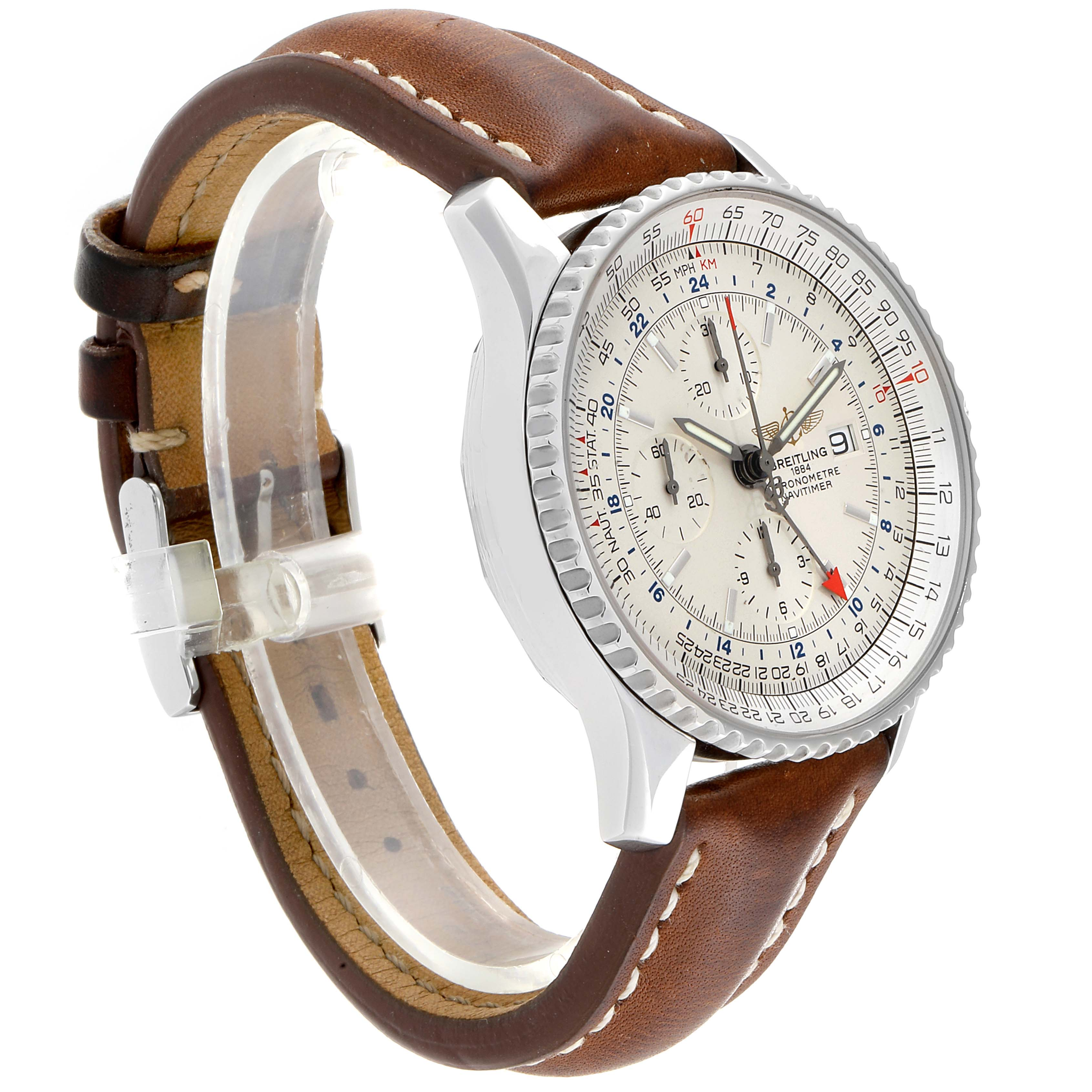 Breitling Navitimer World GMT White Dial Steel Mens Watch A24322 SwissWatchExpo