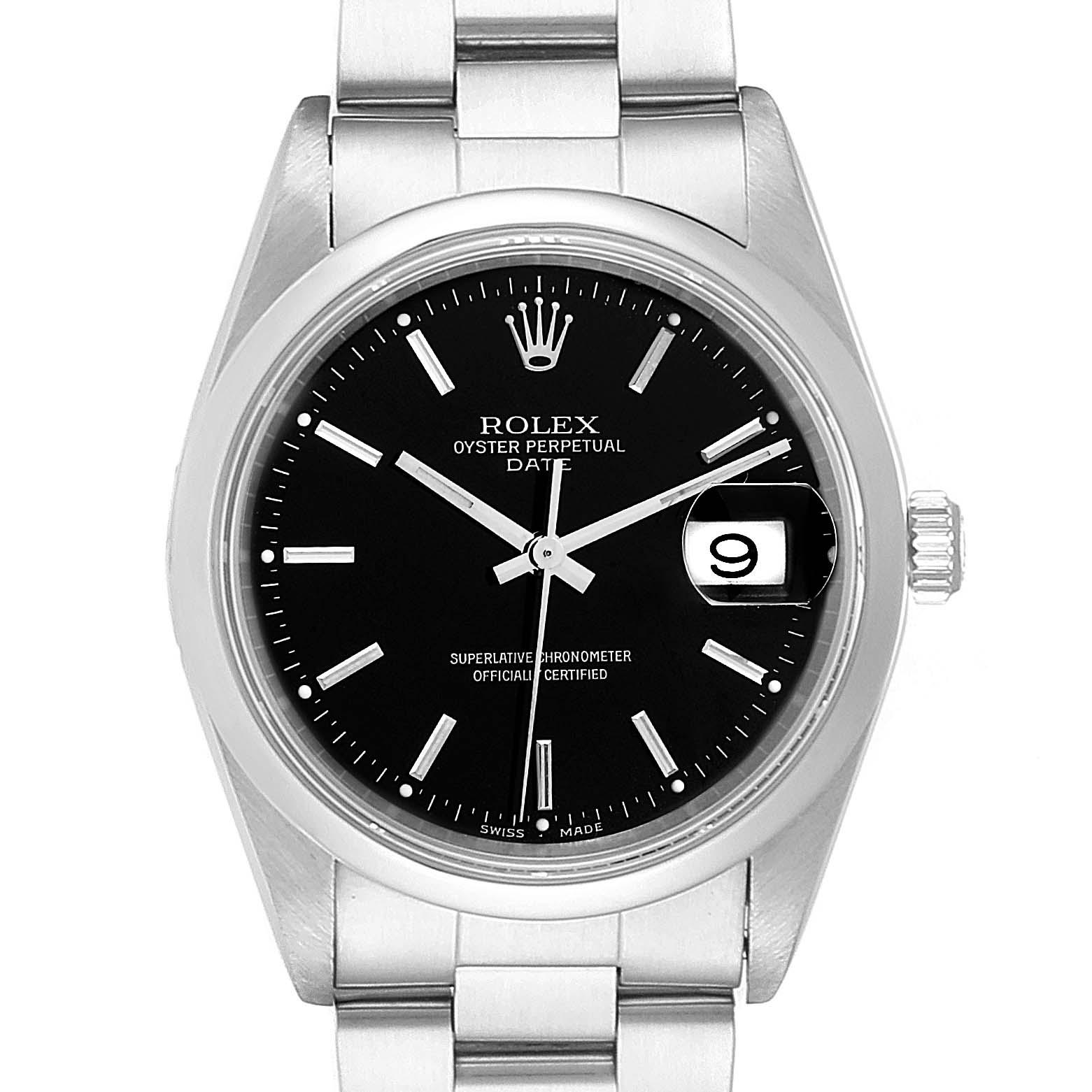 Rolex Date Black Dial Domed Bezel Automatic Steel Mens Watch 15200
