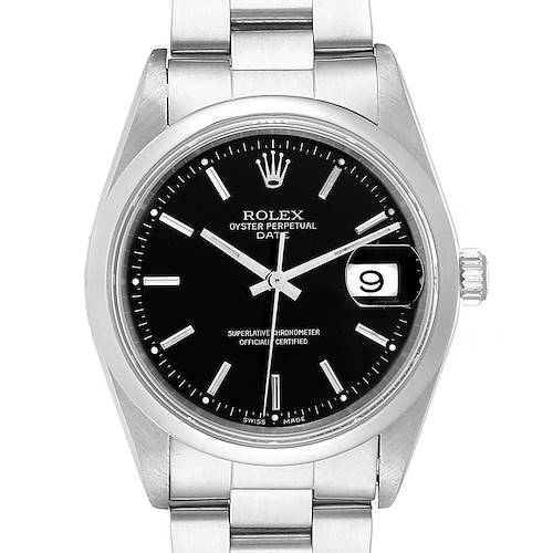 Photo of Rolex Date Black Dial Domed Bezel Automatic Steel Mens Watch 15200
