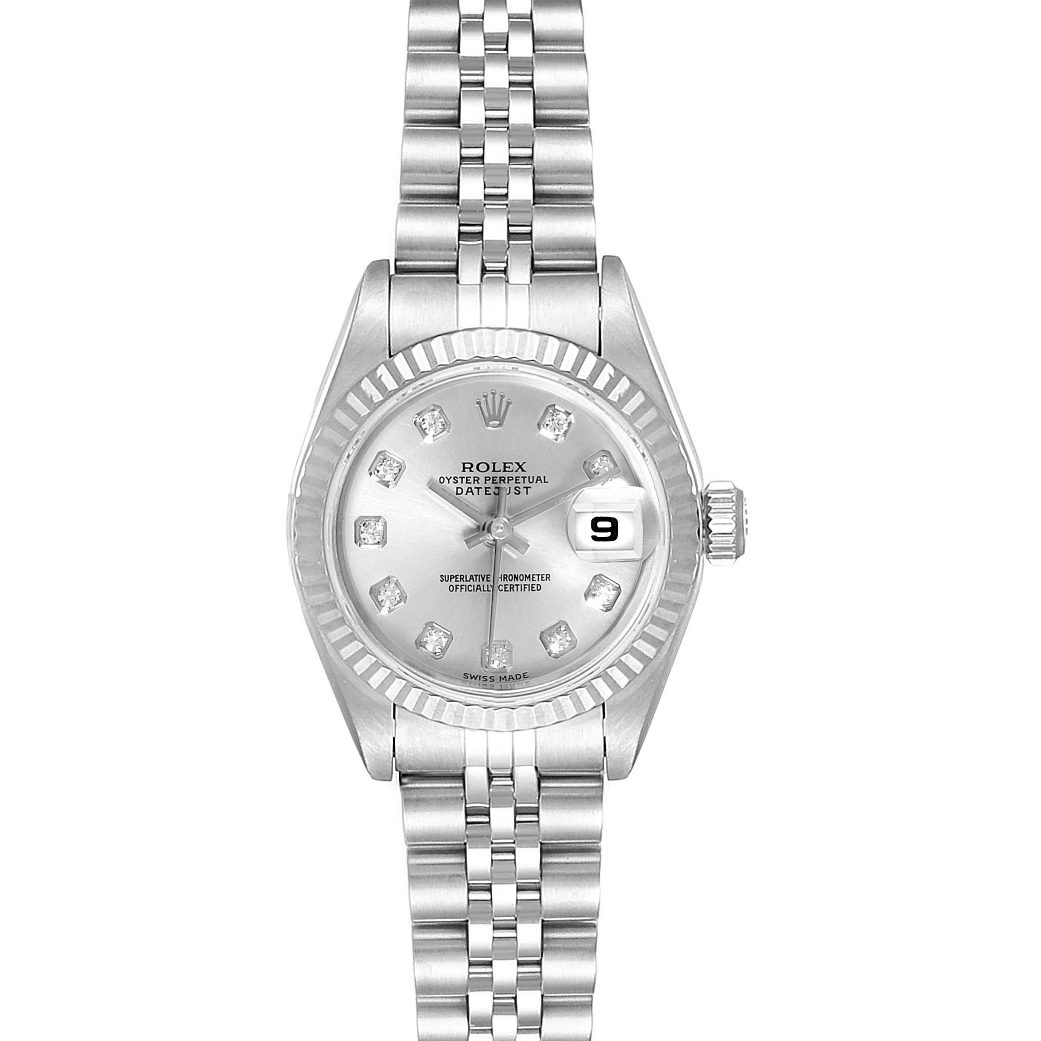 Rolex Datejust 26 Steel White Gold Silver Diamond Dial Ladies Watch 79174