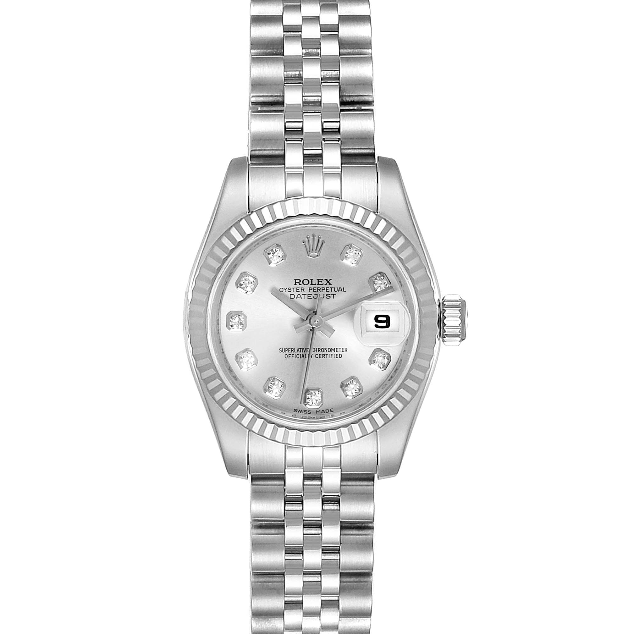Rolex Datejust Steel White Gold Silver Diamond Dial Ladies Watch 179174