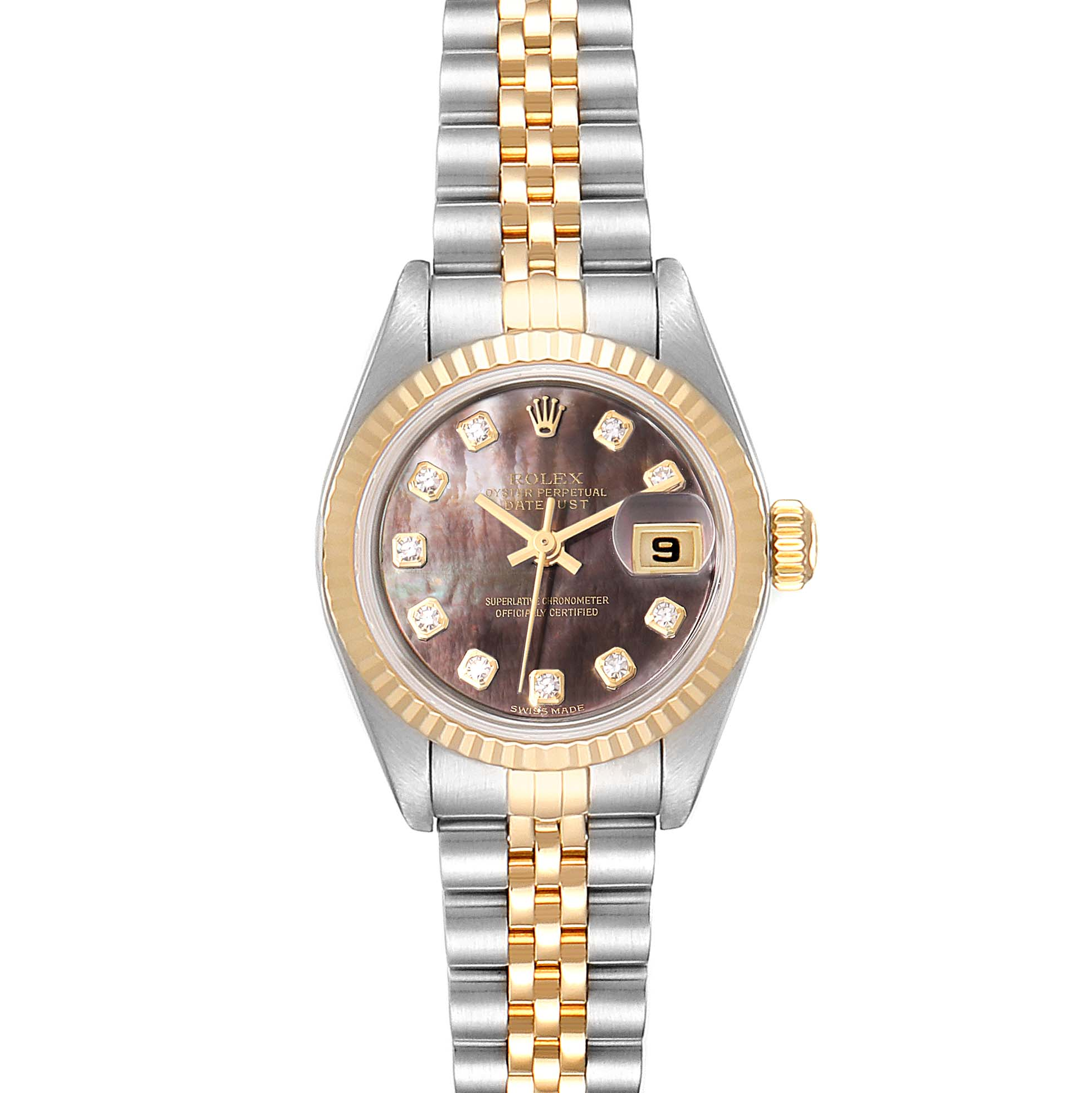 Rolex Datejust Steel Yellow Gold MOP Diamond Ladies Watch 79173 Box Papers