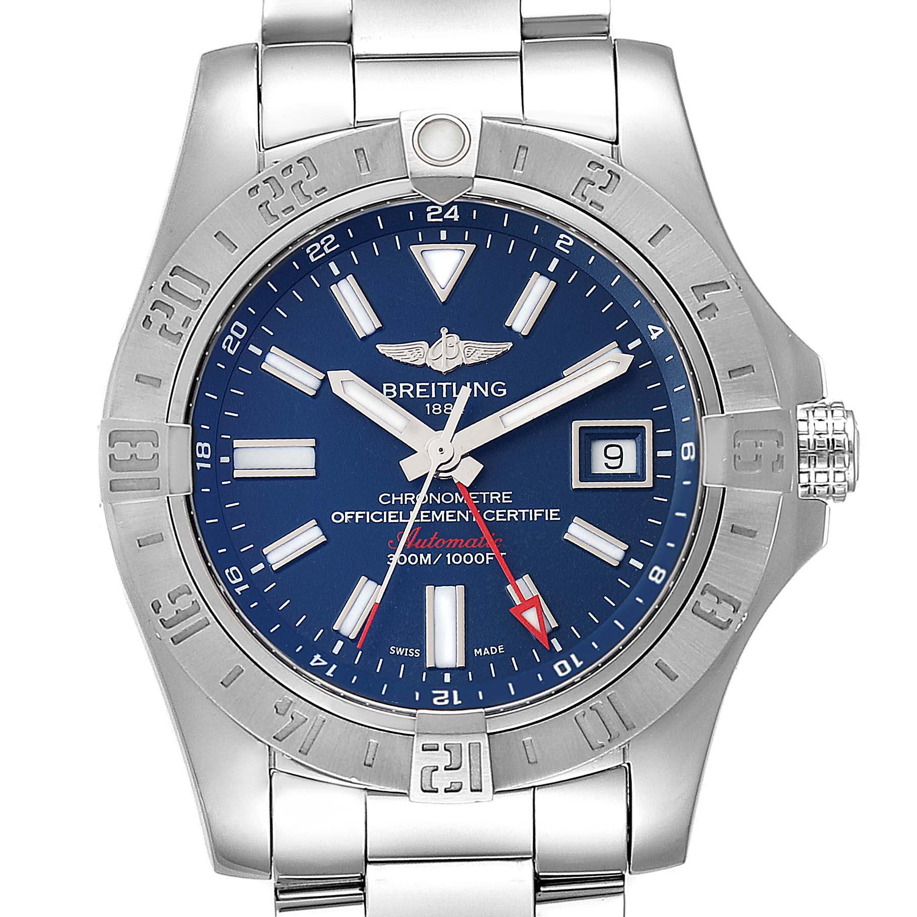 Breitling Aeromarine Avenger II GMT Blue Dial Watch A32390 Box Papers
