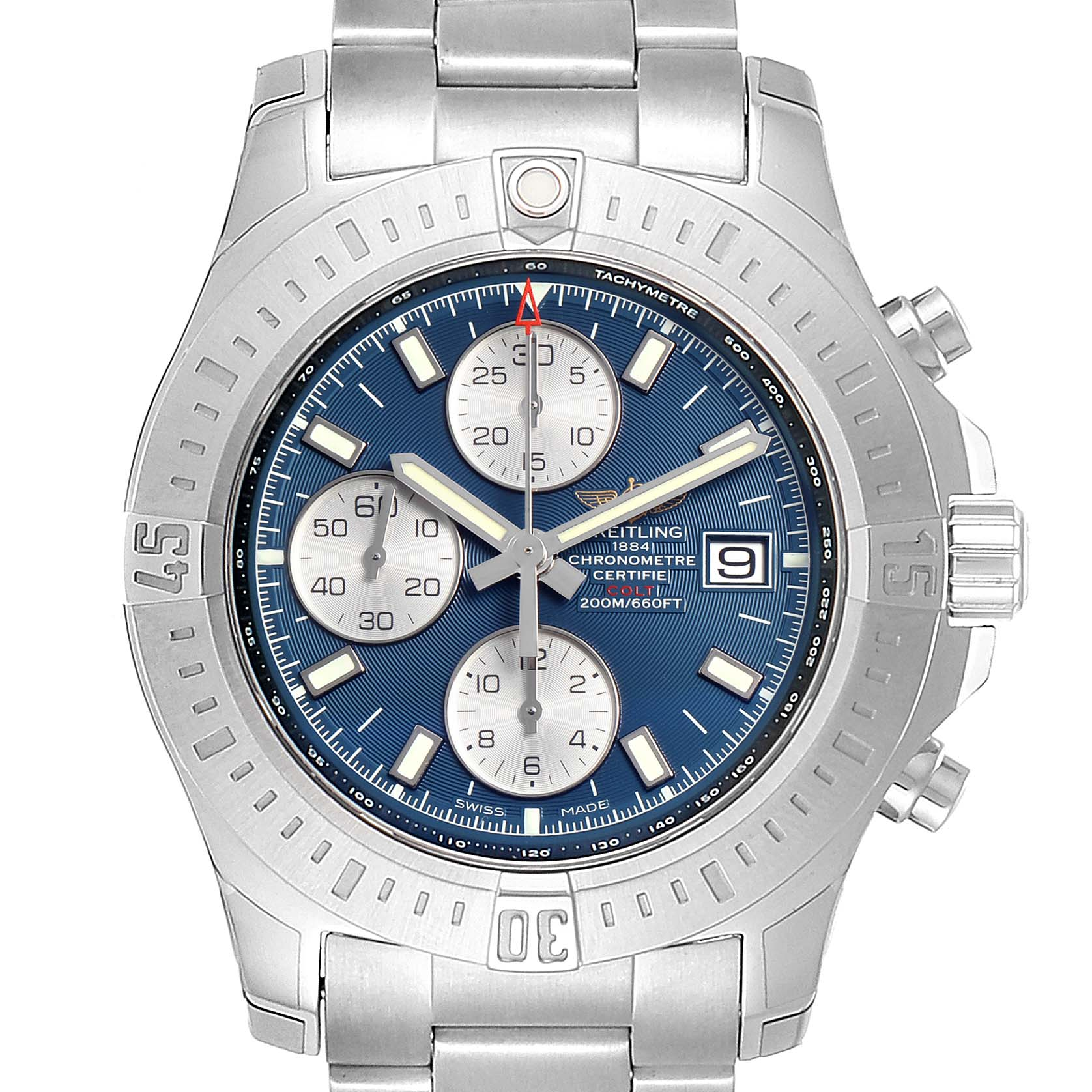 Breitling Colt Automatic Chronograph Blue Dial Watch A13388 Unworn