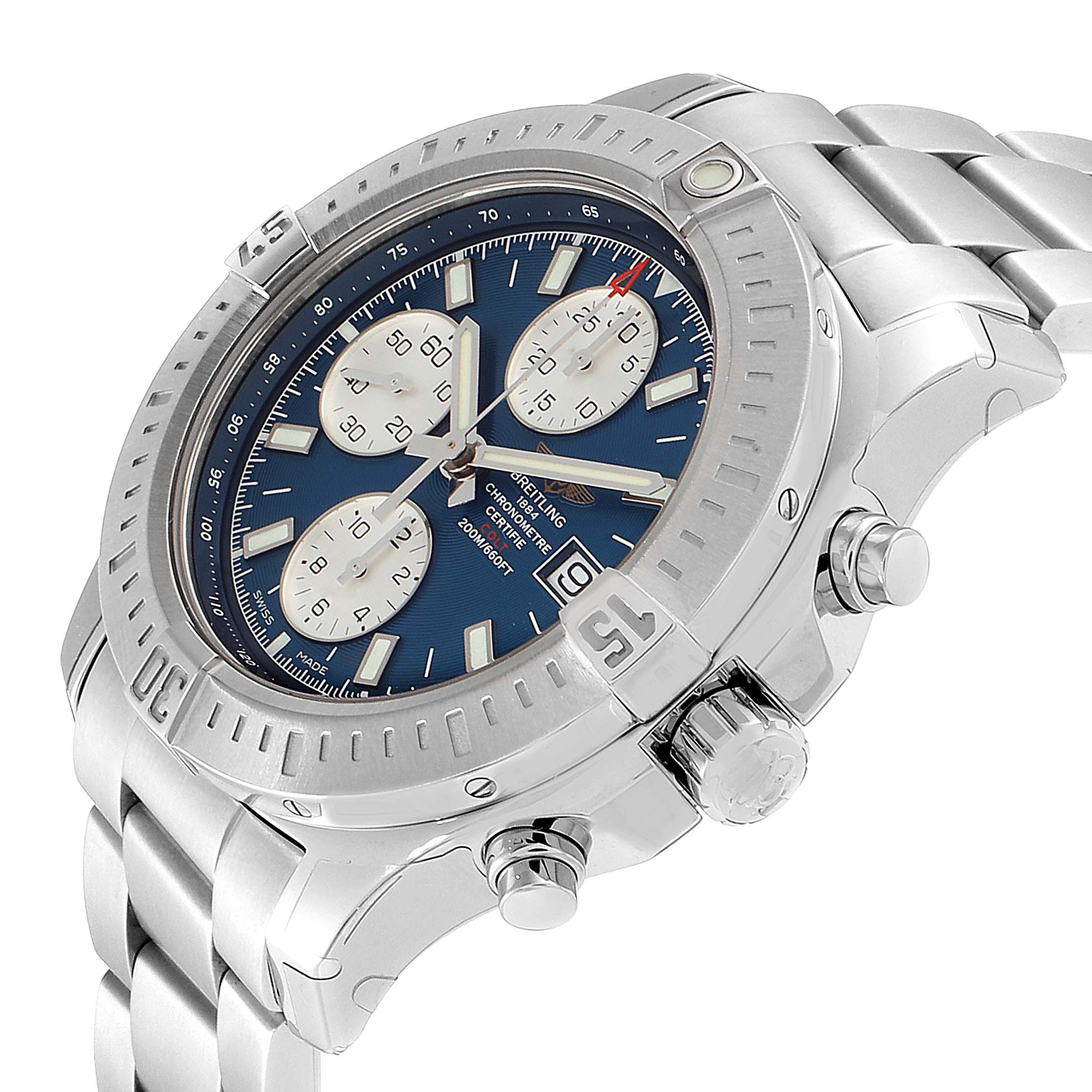 Breitling Colt Automatic Chronograph Blue Dial Watch A13388 Unworn SwissWatchExpo