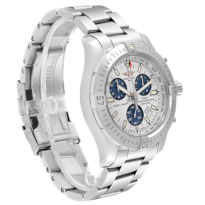 Breitling Colt White Dial Chronograph Mens Watch A17388 Box Card SwissWatchExpo