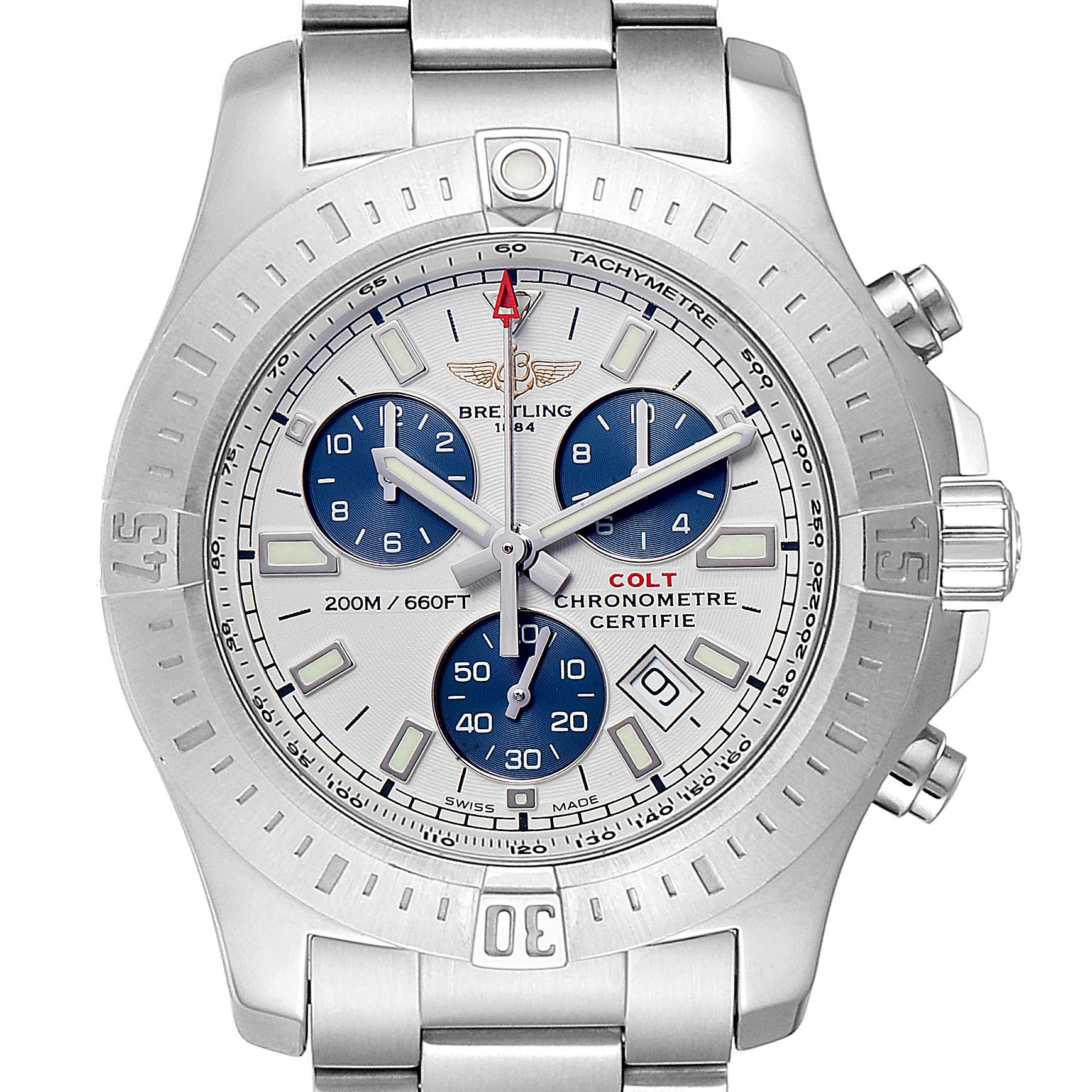 Breitling Colt Automatic Chronograph White Dial Watch A17388 Box Card