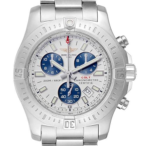 Photo of Breitling Colt White Dial Chronograph Mens Watch A17388 Box Card