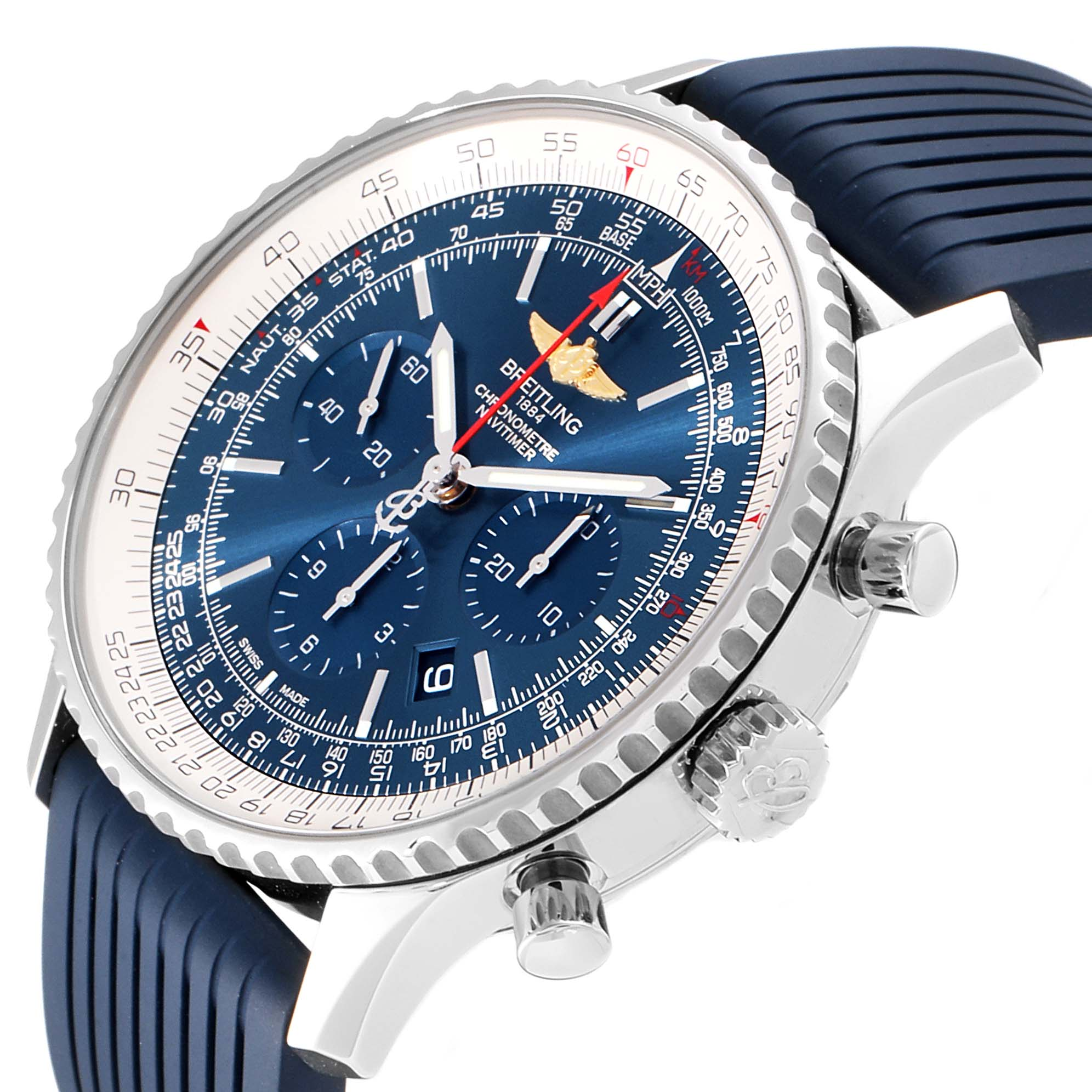 Breitling Navitimer 01 46 Blue Dial Exclusive Edition Watch AB0127 Box Card SwissWatchExpo